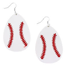 earring 2652a 18 treasure leather embroidered tear drop baseball swtrading