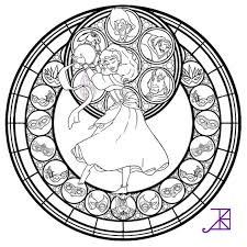 Disney Stained Glass Coloring Pages Coloringstar