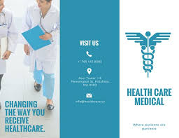White Brochure White And Blue Medical Trifold Brochure Templates By Canva