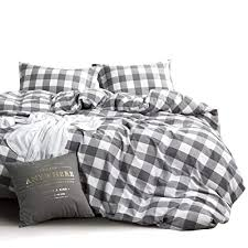 white plaid farmhouse duvet cover set king