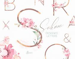 Sakura Designs Coupon Code Sakura Letters Watercolor Floral Alphabet Clipart Monogram