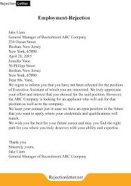 Resume Rejection Letter Rejection Letter