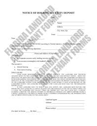 Updated Notice Of Holding Security Deposit Form