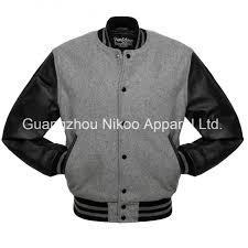 custom quality plain wool baseball varsity jackets with leather sleeves