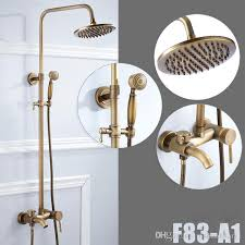 2018 bathroom antique brass shower faucet rainfall shower head with hand shower tub spout mixer taps from rozinsanitary1 140 71 dhgate com