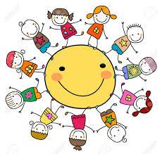Felici i bambini che giocano intorno al sole | Immagini di bambini, Giochi  per bambini, Disegno figura stilizzata