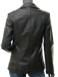 surry black lambskin leather blazer jacket womens