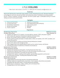Maintenance Technician Resume Interesting Maintenance Technician Resume Sample Mechanical Mmventuresco