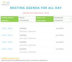 Meeting Agenda Template With All Day Schedule | Agenda Templates ...
