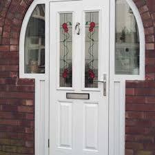 white composite entrance door in white
