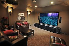 theatre room lighting ideas. Small Home Theater Room Ideas Red Color Curve Shape Sofas Rectangle Bars Table Long Bar Interior Brown Wall Cone Mount Lamp Theatre Lighting