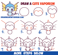 how to draw cute kawaii chibi vaporeon from pokemon easy step by step drawing lesson for