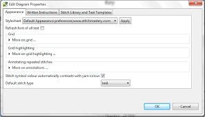 Stitchmastery Knitting Chart Editor Editing Diagram Properties Stitchmastery