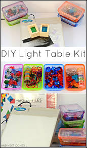 diy light table kit for kids that includes lots of dollar items and homemade accessories