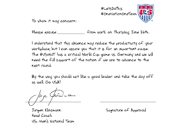 Easiest Way To Get Doctors Note The Coach Of The Us Soccer Team Wrote You A Note To Get Out