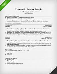 Resume Template For Pharmacist