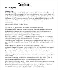 9 Concierge Job Description Samples Sample Templates