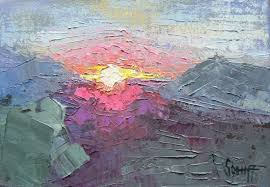 daily painting small oil painting abstract landscape abstract sunset mountain sunset 4x6 sold