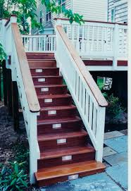 stain deck floor and stairs paint rails lights installed in the outdoor stairs