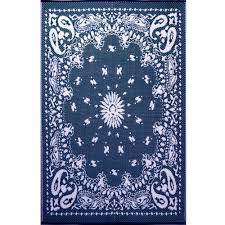 bandana blue outdoor mat 4x6