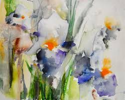 original art for at ugallery com blue irises by karin johannesson 350