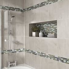 Decorative Ceramic Tile Accents Details Photo features Castle Rock 100 x 100 wall tile with Glass 52