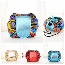 magic mermaid sequins travel pouch lazy drawstring makeup bag women organizer storage bag string case ooa4472 sequins cosmetic bag lazy makeup bag lazy