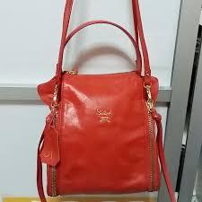 reduced preloved authentic salad genuine orange leather bag women s fashion on carou