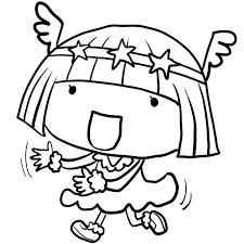 幼稚園の発表会お遊戯会で妖精の衣装で楽しそうに踊る女の子塗り絵