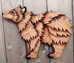 bear wall hanging pyrography wood burning wall art bear decor