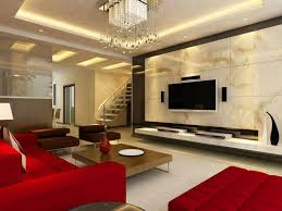 stylish designs living room. Stylish Living Room With Bright Red Furniture, White Floor, Marble Wall Flat Screen TV Designs