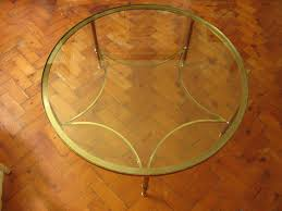 20th cent round brass coffee table
