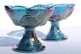 what is carnival glass worth blue carnival glass candle holders set vintage harvest gs pattern glass