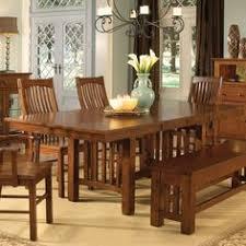 a america 2 piece laurelhurst trestle dining table mission oak home furniture showroom