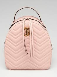 gucci light pink chevron leather marmont backpack bag