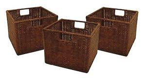 Image is loading Set-of-3-Storage-Baskets-Shelves-Boxes-Wicker-