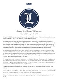 Shirley Ann Harper Williamsen - Obituary