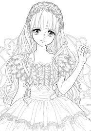 Manga Coloring Pages Cute 塗り絵 ぬり絵ラフ画水彩