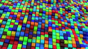 Moving colorful cubes. Loop ready animation of moving color boxes.