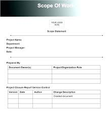 Simple Statement Of Work Template Scope Of Work Template Doc Statement Sow Document D General