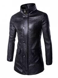 retro style pockets design funnel collar leather coat for men black 2xl