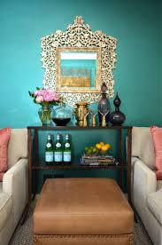 teal walls eclectic living room