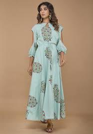 Light Cotton Maxi Dress Block Printed Cotton Maxi Dress In Light Blue