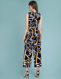 <b>Abstract Printed</b> Jumpsuit With Belt - SaturdayClub