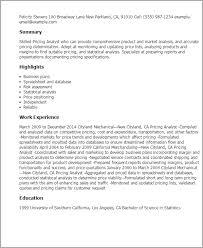 Pricing Analyst Resume Free Resume Templates 2018