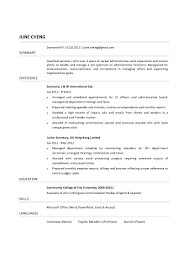 Resume For Secretary Job Free Resume Example And Writing Download