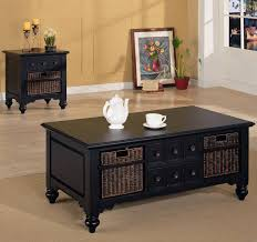 coffee table rectangle black wooden coffee table with six small drawers and brown rattan drawers