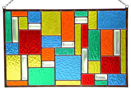 stained glass window panel hanging glass panel color burst geometric panel contemporary stained glass panels by wind glass studio