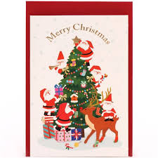 Cute Santa Claus Christmas Tree Glitter Letter Postcard From Japan