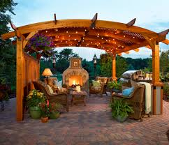 gallery outdoor kitchen lighting: full size of  furniture elegant teak pergola design ideas with curved shape roof design your own outdoor kitchen outdoor kitchen wicker chairs and sofas table lamp mantel fireplace stone floor tiled plant pot ornaments decoration